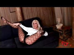 Long lady honey in pantyhose