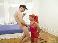 Tied up redhead gets drilled and face drilled
