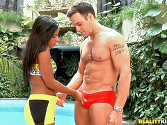 Lewd lalin beauty Samira Ferraz takes white dick
