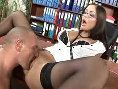 Hot lips secretary slut fucked in his office