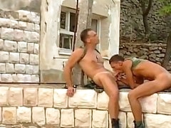 2 sexy and ravishing army dudes are pounding and drilling each other