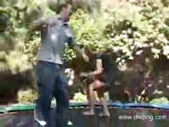 School Janitor Finds Juvenile Hotty Jumping Up And Down On Trampoline And Ends Up Jumping On Her