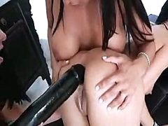 Pretty lesbian girls know how to put biggest darksome dildo into black hole