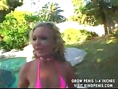 Bikini girl acquires on her knees to suck and acquires fucked bent over