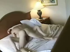 Lovely skinny blonde with good forms fucks with her adorable man in hotel, choosing different poses to get abundant pleasure.
