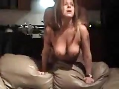 Mature doxy with big natural boobs is screwed from behind, her chap is rough with her.