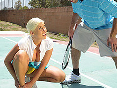 Britney can't live without a little healthy competition. Britney likewise has a healthy set of jumbo knockers. When Charles meets up with her for a match, Britney is in way over her head. Not merely is this chab a more fantastic tennis player, but this honey risks being flopped out of the league entirely. As a final minute ploy, Britney uses her wits and her zeppelins in order to win the match!
