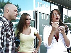 Lady doctor wishes to fuck the spouse of a charming babe but wife refuses as a result this babe gives a long prescription, to avoid inconvenience this babe allowed her spouse to be fucked. Doctor wishes a lesbian action too. That babe licked her vagina and ass. Lucky spouse gets his rod suck by the horny doctor