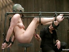 Star heard about s&m but that babe never thought that things could receive so rough in a session of servitude sadistic masochism. That babe was tied on that metal frame, a rubber balloon was used to cover her head and suffocate her and then clamps were used to gape her pussy. That was only the warm up, stick around and see more