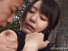 This babe is sexy and goes wild in the forest. Check out this cutie named Tsubomi, a young asian whore that loves to suck a hard dick, no matter if that babe does it in the comfort of her abode or in the centre of a forest! This babe kneels like a admirable Japanese doxy and gives orall-service with obedience during the time that preparing for a hard fuck