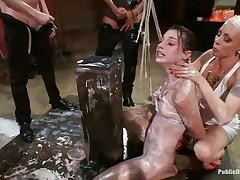 This babe has a very pretty mouth, so pretty that they've decided to open and cum in it. One chick keeps her throat opened wide while the chaps masturbate and cum in it. Look at those charming pink lips and at the look in her eyes as they brutally fuck her and then abased her by pouring milk on her body.
