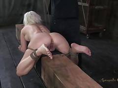 Marvelous wench Cherry is tied up on a wooden barn and an executor comes from behind and fucks her sexy ass deep. That babe being treated like a piece of meat, exactly the way this babe likes it. Surely that fucking was just for warming up, much greater amount await this cutie. Stay tuned and discover out what!