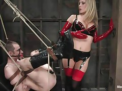 See this super sexy blonde mama teaching this bad boy a lesson in hard way. This babe tied him up and gagged his face hole before fucking his world upside down! This babe puts on a strap on and copulates him real hard. This babe also locked his cock so that he can't cum! This babe keeps teasing his cock and fucking his wazoo with pleasure!