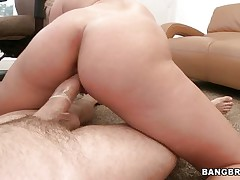 Watch this horny blonde moaning of joy during the time that that babe rides that large hard cock. Look at her perfect a-hole getting spanked and that dick going in and out of her taut pussy. After that that babe begins sucking that 10-Pounder with the condom on and gets her a-hole back to work. Is this chab going to cum on her pretty face?