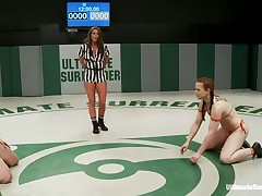 Hawt sluts wearing swimsuits begins wrestling because they desire to dominate each other. The strumpets are caught in difficult clutches, from which they have to escape, otherwise the other takes her bra or bikini off and begins licking her body. Each sexual move brings recent points and the fight is tight!