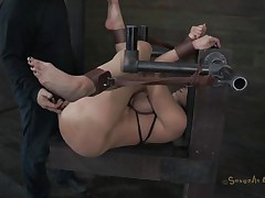 Kelly Divine is tied up with her arse up like a whore. The executor is eager to stick his dick in her but 1st that dude wants to be sure that Kelly is all moist and ready for cock. That dude fingers her so mean that that chick makes herself soaking moist and then that dude starts drilling her. Do you think that dude will cum in her pussy?