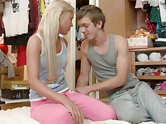 Enjoy watching this horny blond with diminutive tits that desires to have a little fun with that fellows large dick. You can watch how not fast he takes off all her clothes and starts licking her hard nipples. After that, he takes off her white pants and fingers her pussy as this playgirl gets on her knees and sucks his large hard cock.