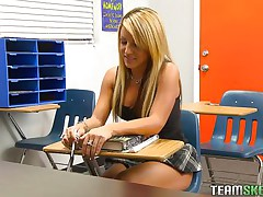 Holly is a wicked schoolgirl and this hottie has got an stylish body. When this hottie is taking intimate tuition her teacher was off for a second and instantly this hottie starts rubbing her pussy. Her teacher has seen that, so this chab punished her by groping her boobs and rubbing her vagina and preparing her to fuck hard.