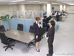 Now that is not a way to treat your work place! The lascivious Japanese employee goes on the desk and voids urine on it. This babe is a bit shy and worried about what her colleagues will think, luckily this one supports her and even greater amount then that, this chab gives the doxy his dick for a rub and much more. Wonder what she will do next?