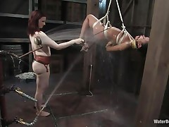 That angel needs an intensive washing and some spanking also and this mistress knows how to do the job right! That babe hanged her and washed her fit sexy body until she putted down, fastened her with another rope and secured her in a ideal position. Are u thinking for what is that dildo in the wall?