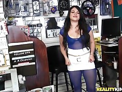 Sofia is starting to be lascivious when that babe sees this guy, her throat drools for a penis and after this chab sucks her nipples and taunts her this chab takes of his large erect dick so that babe can have some joy with it. In no time she's down on her knees and prepares for some pleasure, wanna watch her in action?