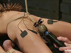 The man is showing his skills in domination and punishment. This guy putted laundry pliers on this slut's boobs and then suckers on her nipples before rubbing her clit with a vibrator. After rubbing that fur pie worthwhile and nice this guy hangs her and probably has something very special for her ass, would you like to see that?