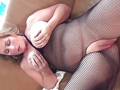 This hawt mature bitch with big round tits is sitting on the sofa wearing hose and this babe is playing with her boobs. She starts rubbing her large shaved pussy becoming very horny. The blonde takes now a lengthy sex-toy and starts riding it waiting the big agonorgasmos coming soon.