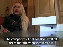 Golden-Haired with Huge boobs thinks this chick has won an iPad.  Well this chick will if this chick rides my big dick.