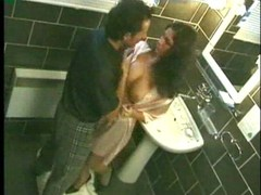 Hot black haired sweetheart nailed in bath