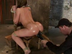 Amy Brooke hog tied then a huge sextoy rammed in a-hole