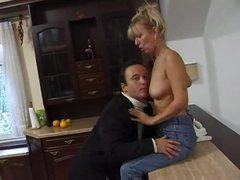 Cute blond housewife gangbanged in clip