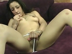 Pretty in white bikini, juvenile nymph shaves as she washroom her fresh...