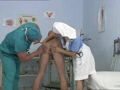 Breasty Blond Nurse Kathy Fascinating Gets Facialized In a Bisexual 3some