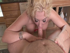 Breasty blond brenya rose blows the plumber for payment
